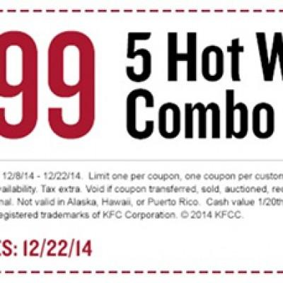 KFC: 5 Hot Wings Combo Just $3.99