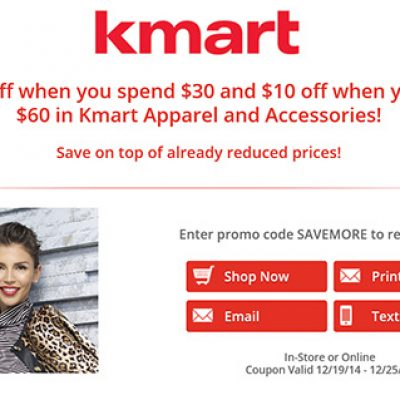Kmart: $5 Off $30 or $10 Off $60 in Apparel