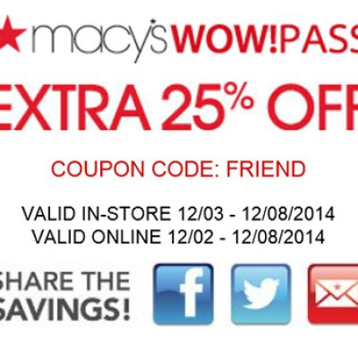 Macy's Wow!Pass Extra 25% Off