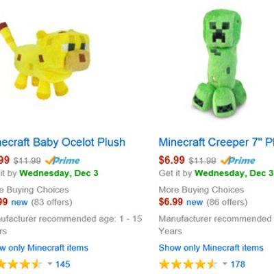 Minecraft Plushes Up To 50% Off