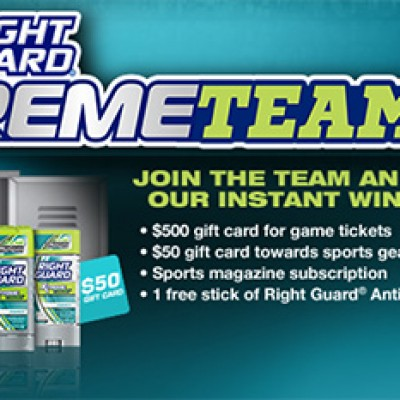 Right Guard: XtremeTeam Instant Win Game