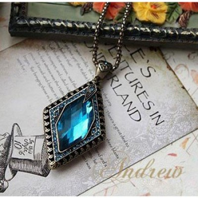Sapphire Rhombus Gem Necklace Pendant Only $2.49 + Free Shipping