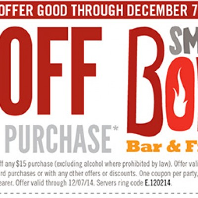 Smokey Bones: $5 Off $15 Purchase