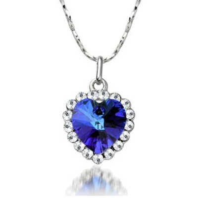 Blue Heart of Ocean Pendant & Chain Only $2.39 + Free Shipping