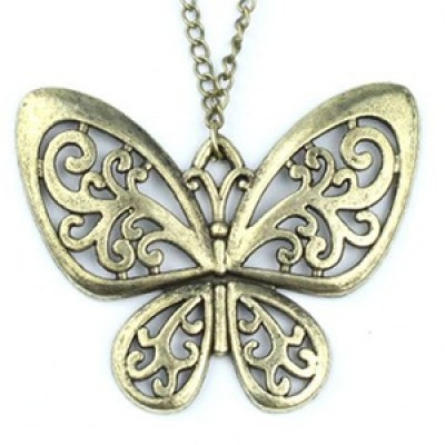 Bronze Butterfly Pendant & Chain Only $2.99 + Free Shipping