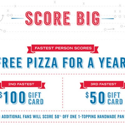Domino's: 50% One 1-Topping Pizza + Sweepstakes