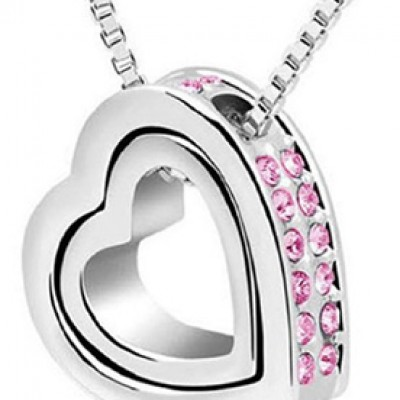 Double Heart Crystal Rhinestone Necklace Just $2.89 + Free Shipping