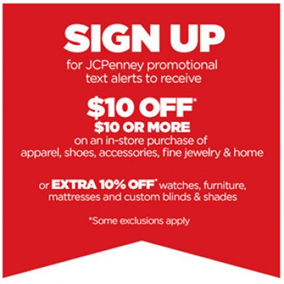JCPenney: $10 Off $10 In-store