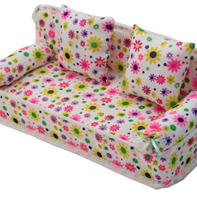 Miniature Furniture Flower Print Sofa Couch W/ 2 Cushions For Barbie Only $2.92 + Free Shipping