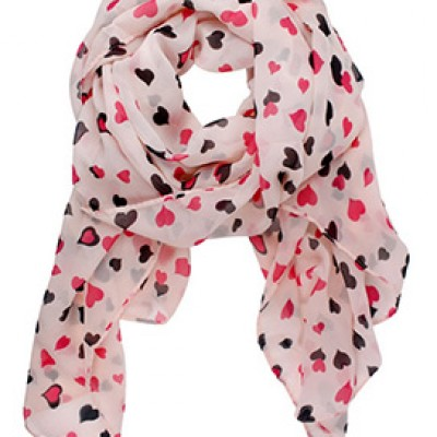 Polka-Dot Hearts Chiffon Scarf Only $2.89 + Free Shipping