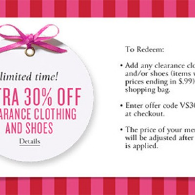 Victoria's Secret: Extra 30% Off Clearance