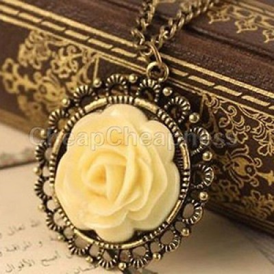 Vintage Style Yellow Rose Pendant & Chain Just $1.63 + Free Shipping