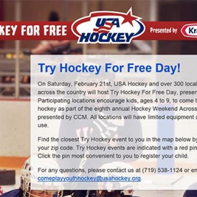 Free Try Hockey For Kids Day