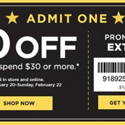 Kohl's: $10 Off $30 Or More Until 2/22