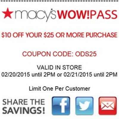 Macy's WowPass: $10 Off $25 Or More - Until 2PM