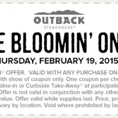 Outback Steackhouse: Free Bloomin' Onion Feb 19th