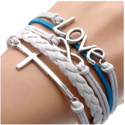Silver Infinite Bracelet Love White Blue Leather Rope Cross Infinity Only $0.96 + Free Shipping