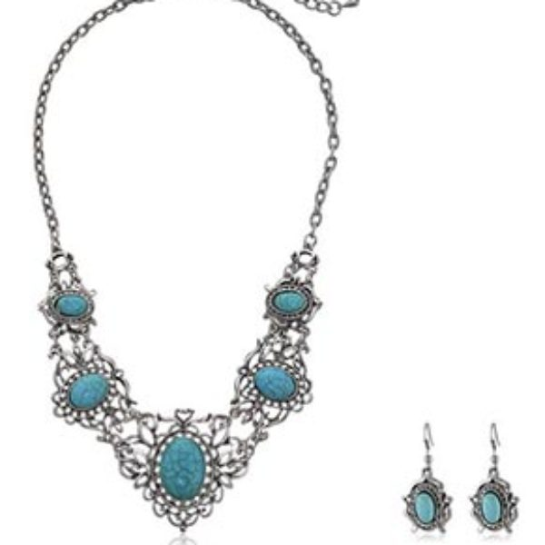 Turquoise Necklace & Earrings Only $2.59 + $2.59 Shipping