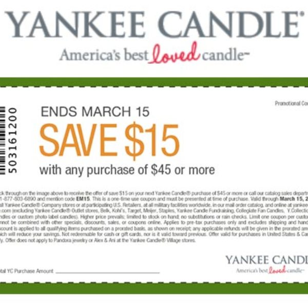 Yankee Candle: Save $15 Off $45 Or More
