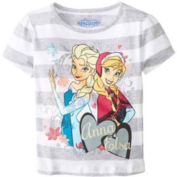 Little Girls' Disney Frozen Anna and Elsa Stripe Tee Only $3.00 (Reg $9.99) + Prime Shipping