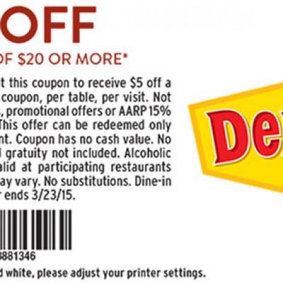 Denny's: $5 Off $20