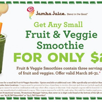 Fruit & Veggie Smoothie Only $2.00 W/ Coupon