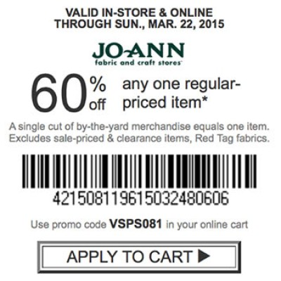 Joanne Fabrics: 60% Off One Item - Ends 3/22