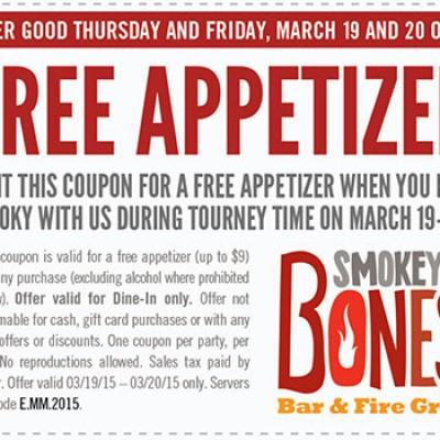 Smokey Bones: Free Appetizer - Last Day