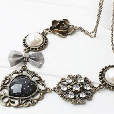 Bows, Roses & Hearts Necklace Only $3.17 + Free Shipping