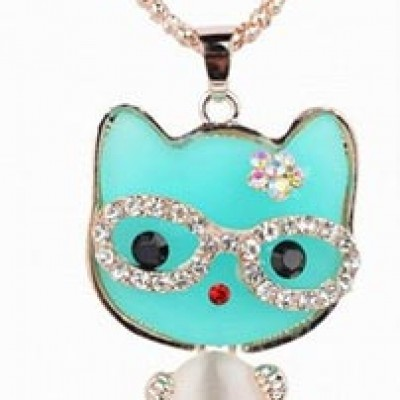 Enamel Crystal Cat Pendent Only $2.99 Shipped