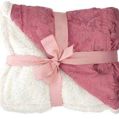 "Floral Embossed Sherpa Blanket 50"" x 60"" Only $15.99 (Reg $40.00)"
