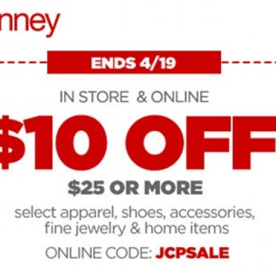JCPenney: $10 Off $25 Or More