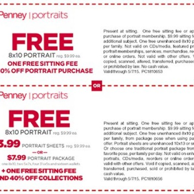 JCPenney: Free 8x10 Portrait