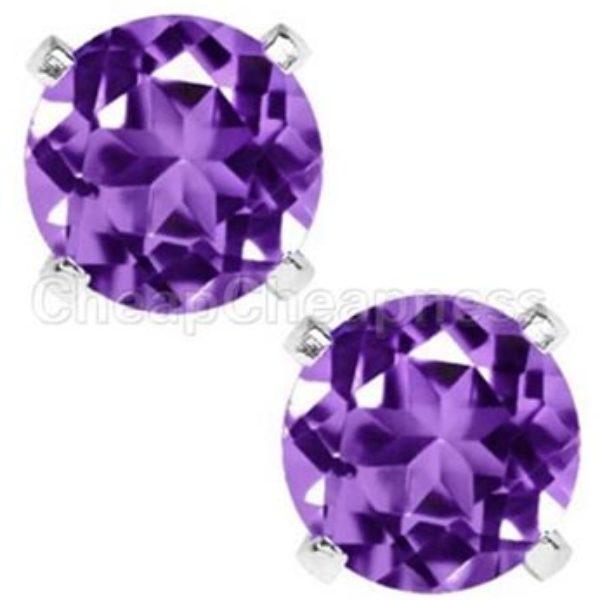 Sterling Silver Purple Zircon Earrings Just $3.80 + Free Shipping