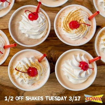 Sonic: 1/2 Off Shakes - April 17th