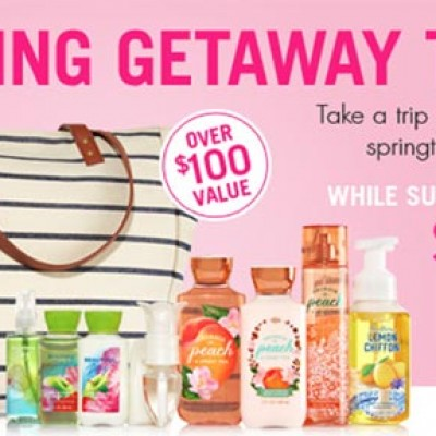 Bath & Body Works: $20 Spring Getaway Tote ($100 Value) W/ Purchase