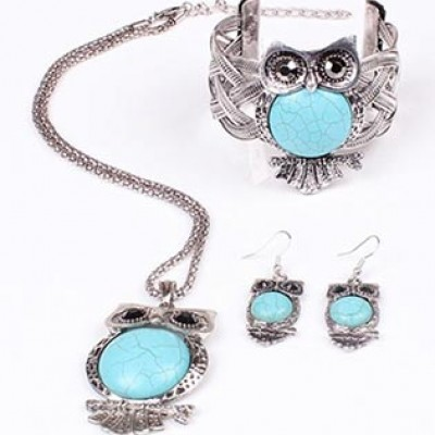 Turquoise Owl Bracelet, Necklace & Earrings Set Just $6.94 Shipped