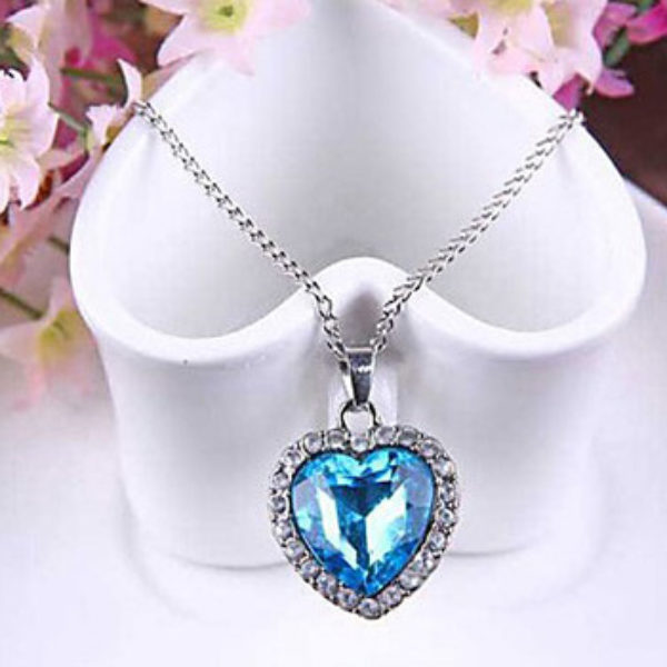 Blue Heart of Ocean Pendant & Chain Just $3.99 + Free Shipping