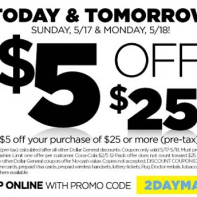 Dollar General: $5 Off $25 - Ends 5/18