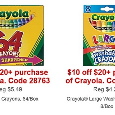 Staples: $10 Off $20 Crayola Products
