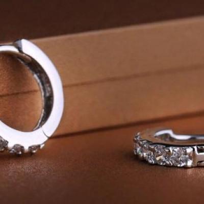 Sterling Silver Rhinestone Hoop Earrings Just $3.48 + Free Shipping
