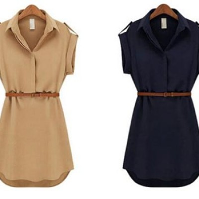 Women's Short Sleeve Chiffon Dress Only $3.20 + $1.00 Shipping