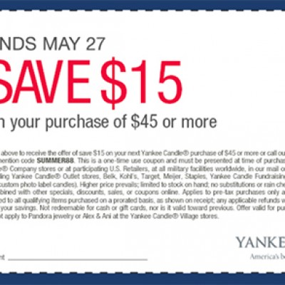 Yankee Candle: $15 Off $45