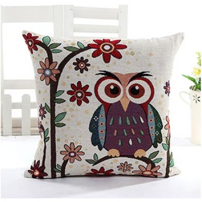 Linen Owl Throw Pillow Only $5.59 + Free Shipping