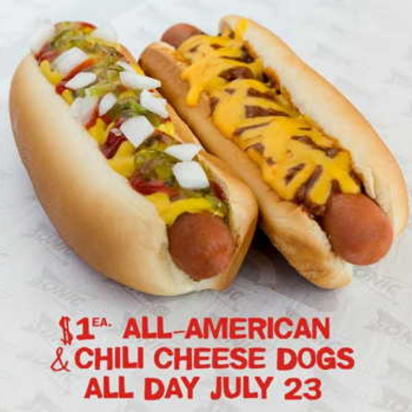 Sonic: $1 All-American & Chili Cheese Dogs