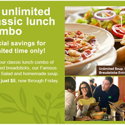 Olive Garden: $5 Unlimited Classic Lunch Combos