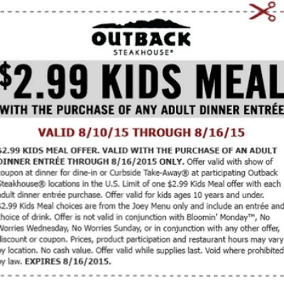 Outback: $2.99 Kids Meal W/ Purchase