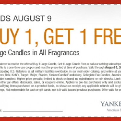 Yankee Candle: BOGO Large Candles Until 8/9