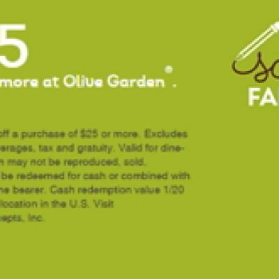 Olive Garden: $5 Off $25 Or More Until 9/13