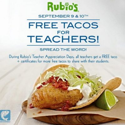 Rubio's: Free Tacos for Teachers - Ends Today